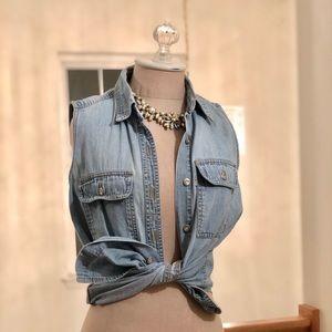 Levi's Denim Sleeveless Button Shirt Vest Vintage